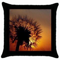 Dandelion Black Throw Pillow Case