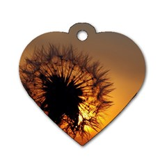 Dandelion Dog Tag Heart (two Sided)