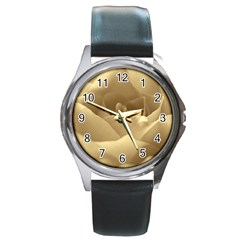 Rose  Round Metal Watch (Silver Rim)