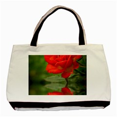 Rose Twin-sided Black Tote Bag
