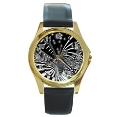 Space Round Metal Watch (gold Rim)