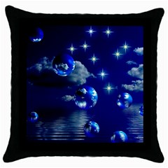 Sky Black Throw Pillow Case