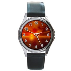 Sunset Round Metal Watch (Silver Rim)