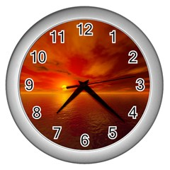 Sunset Wall Clock (Silver)