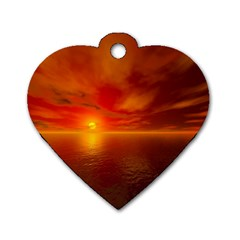 Sunset Dog Tag Heart (One Sided)