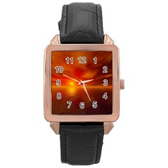 Sunset Rose Gold Leather Watch