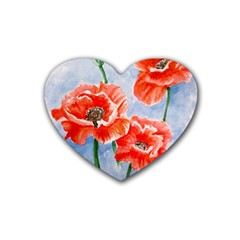 Poppies Drink Coasters 4 Pack (Heart)