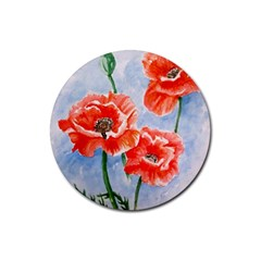 Poppies Drink Coasters 4 Pack (Round)