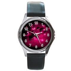 Sweet Dreams  Round Metal Watch (Silver Rim)