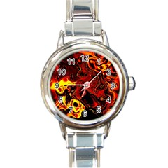 Fire Round Italian Charm Watch