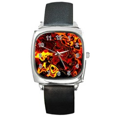Fire Square Leather Watch
