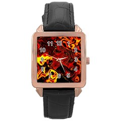 Fire Rose Gold Leather Watch