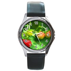 Strawberry  Round Metal Watch (Silver Rim)