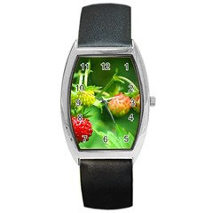 Strawberry  Tonneau Leather Watch