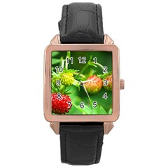 Strawberry  Rose Gold Leather Watch