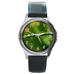 Waterdrops Round Metal Watch (Silver Rim)