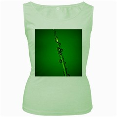 Waterdrops Womens  Tank Top (Green)