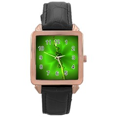 Waterdrops Rose Gold Leather Watch