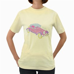 if classic car wanna be colorful  Womens  T-shirt (Yellow)