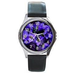 Cuckoo Flower Round Metal Watch (Silver Rim)