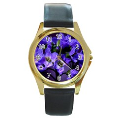 Cuckoo Flower Round Metal Watch (Gold Rim)