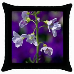 Cuckoo Flower Black Throw Pillow Case