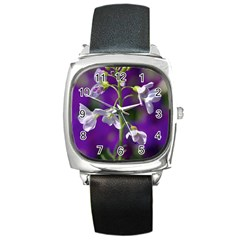 Cuckoo Flower Square Leather Watch