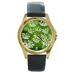 Queen Anne s Lace Round Metal Watch (Gold Rim)