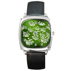 Queen Anne s Lace Square Leather Watch