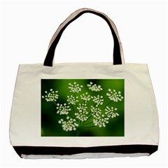 Queen Anne s Lace Twin Sided Black Tote Bag