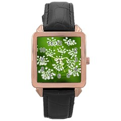 Queen Anne s Lace Rose Gold Leather Watch