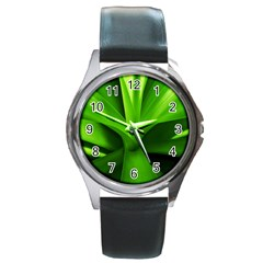 Yucca Palm  Round Metal Watch (Silver Rim)