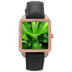 Yucca Palm  Rose Gold Leather Watch