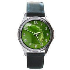 Leaf Round Metal Watch (Silver Rim)
