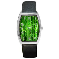 Bamboo Tonneau Leather Watch