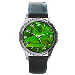 Bamboo Leaf With Drops Round Metal Watch (Silver Rim)