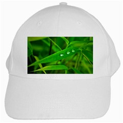 Bamboo Leaf With Drops White Baseball Cap