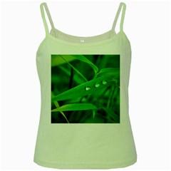 Bamboo Leaf With Drops Green Spaghetti Tank