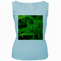 Bamboo Leaf With Drops Womens  Tank Top (Baby Blue)