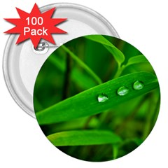 Bamboo Leaf With Drops 3  Button (100 Pack)