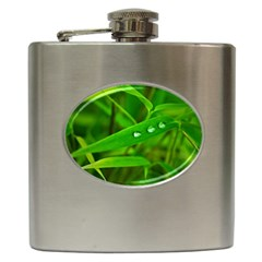 Bamboo Leaf With Drops Hip Flask