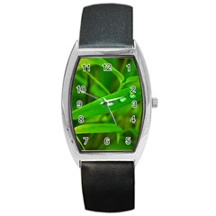 Bamboo Leaf With Drops Tonneau Leather Watch