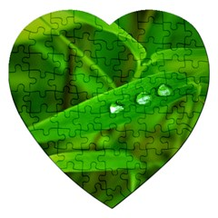 Bamboo Leaf With Drops Jigsaw Puzzle (heart)