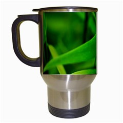 Bamboo Leaf With Drops Travel Mug (White)