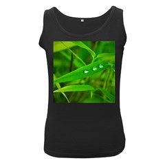 Bamboo Leaf With Drops Womens  Tank Top (black)