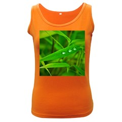 Bamboo Leaf With Drops Womens  Tank Top (Dark Colored)