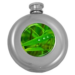 Bamboo Leaf With Drops Hip Flask (round)