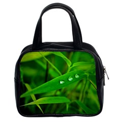 Bamboo Leaf With Drops Classic Handbag (two Sides)