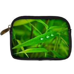 Bamboo Leaf With Drops Digital Camera Leather Case