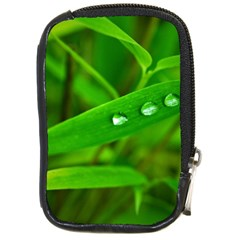 Bamboo Leaf With Drops Compact Camera Leather Case